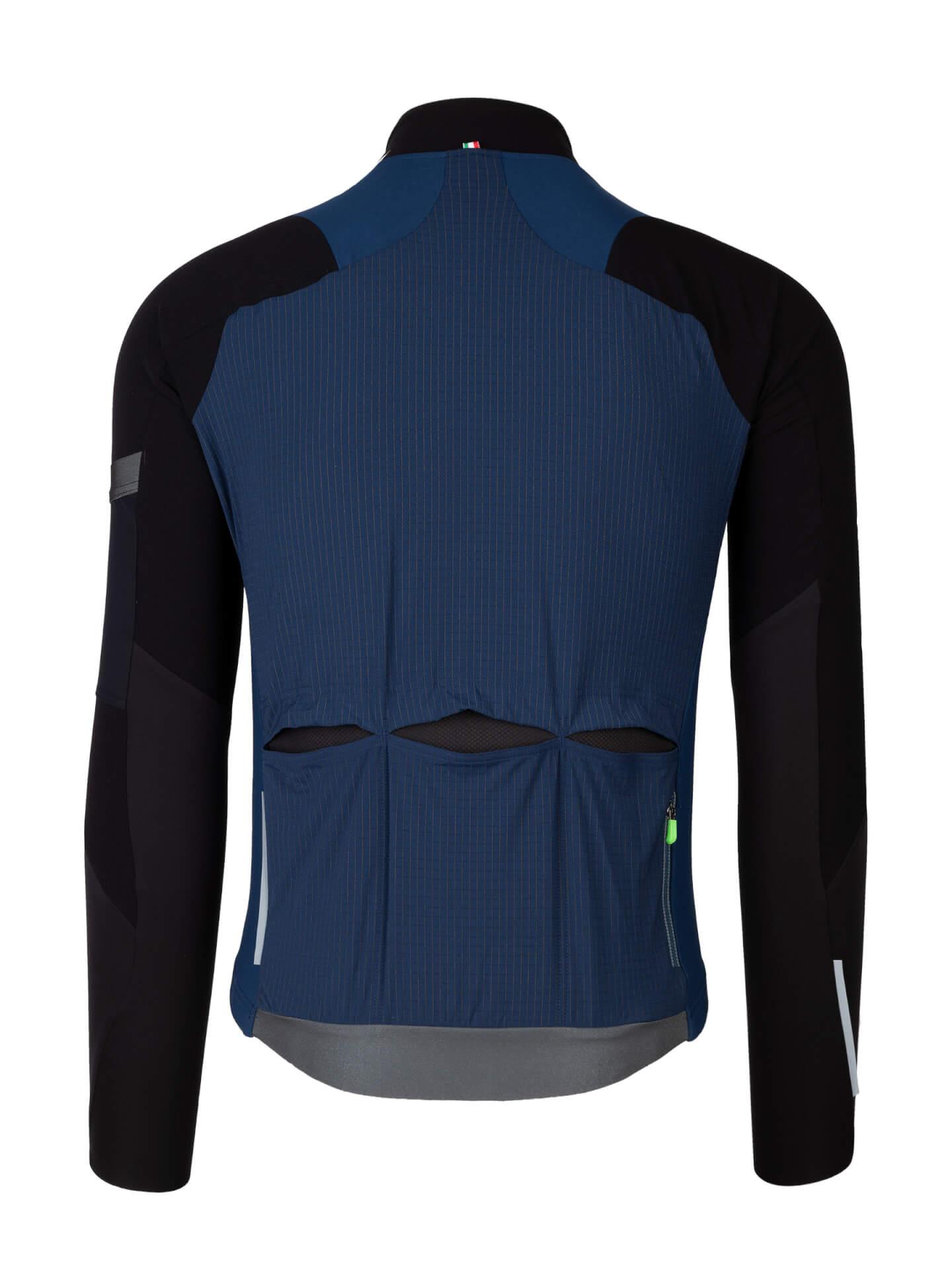 Radtrikot Jersey Long Sleeve Hybrid Que X Navy Blue