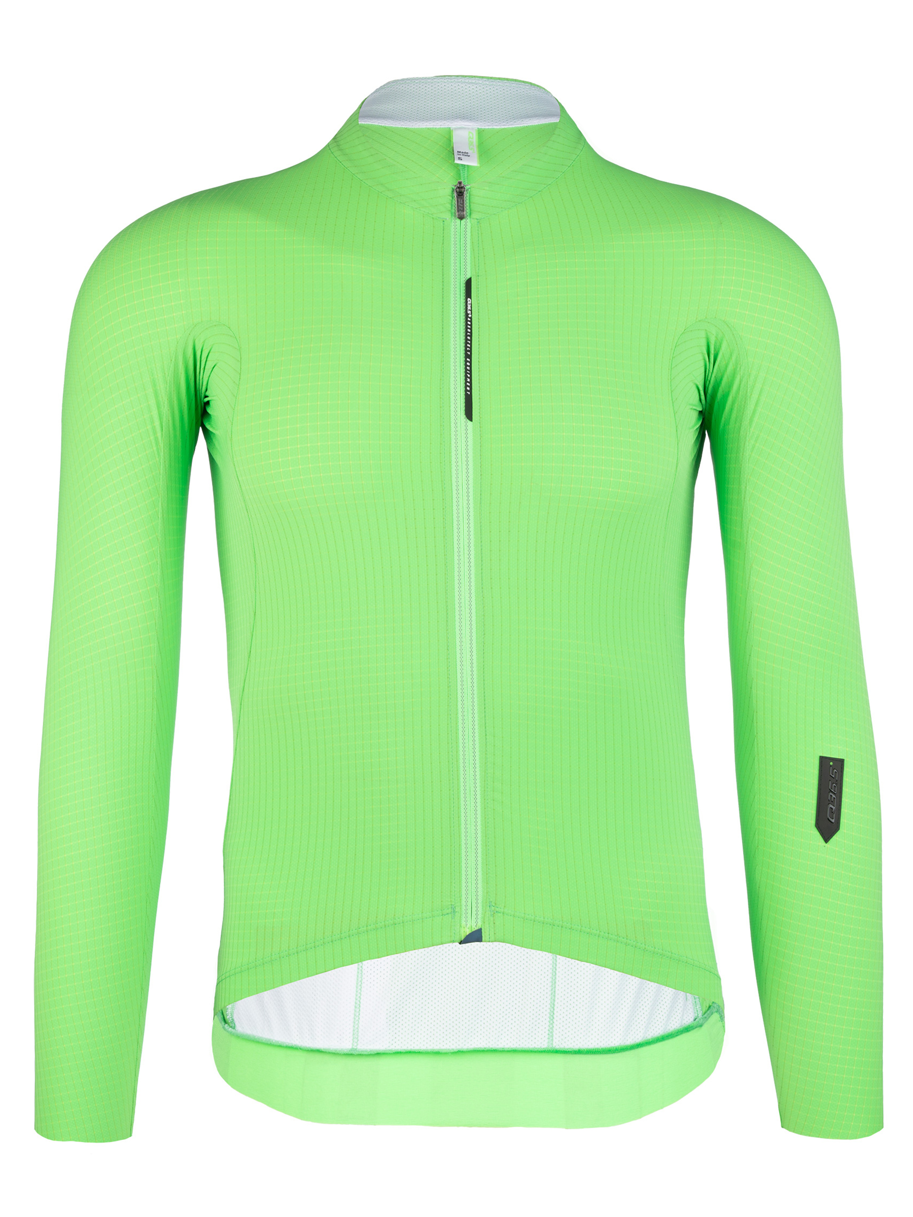 mens cycling jersey long sleeve Pinstripe X green fluo Q36.5