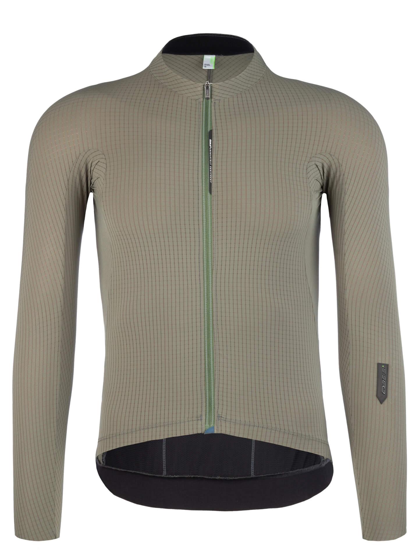 Maglia da ciclismo uomo maniche lunghe Pinstripe X verde oliva