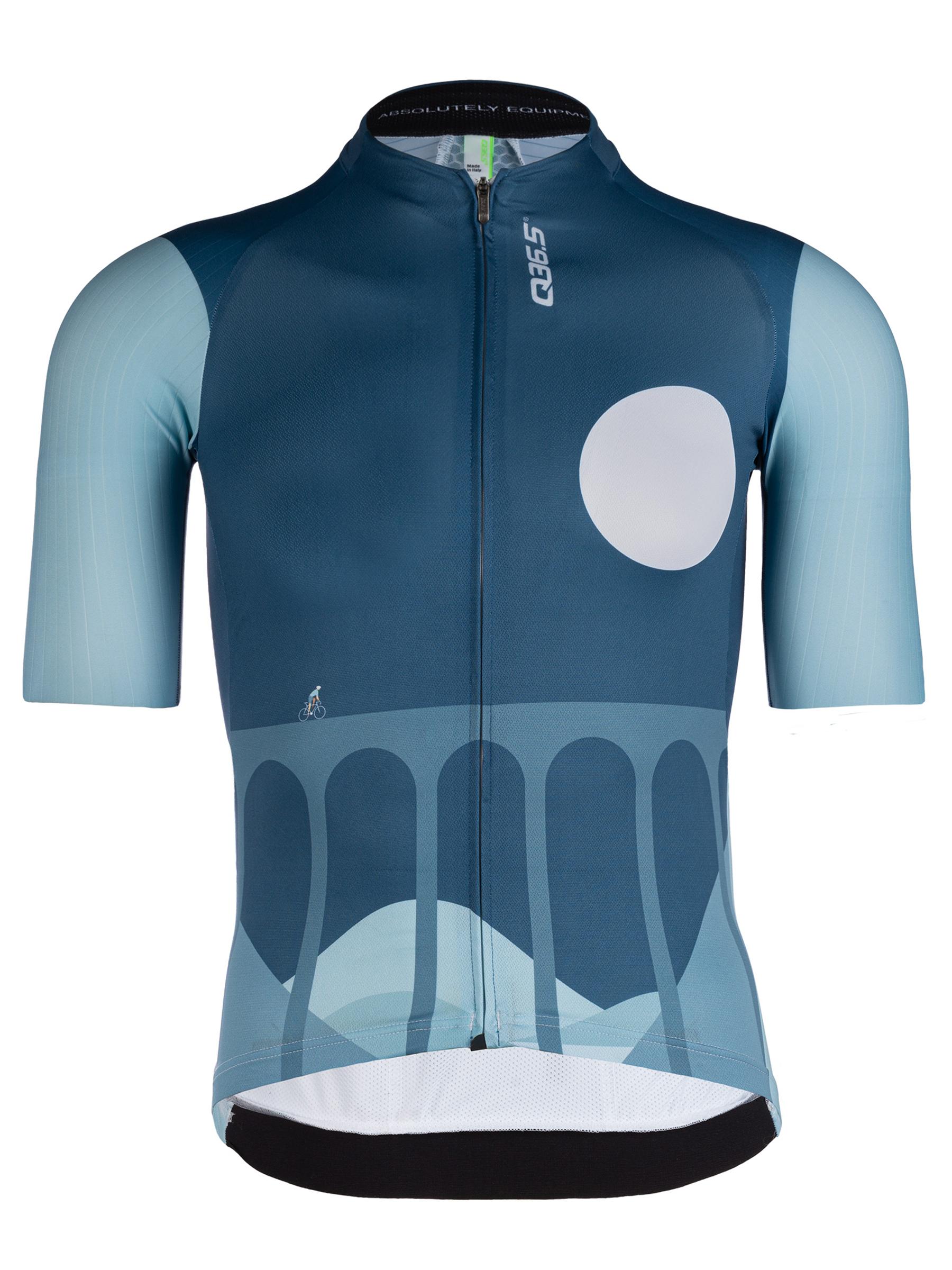 Maillot ciclismo hombre manga corta R2 Globe Trotter azul Q36.5