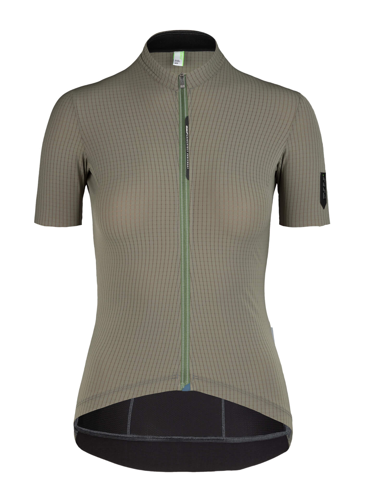 womens cycling jersey short sleeve Pinstripe x olive green Q36.5